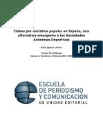 Clubes por iniciativa popular en España, una alternativa emergente a las Sociedades Anónimas Deportivas