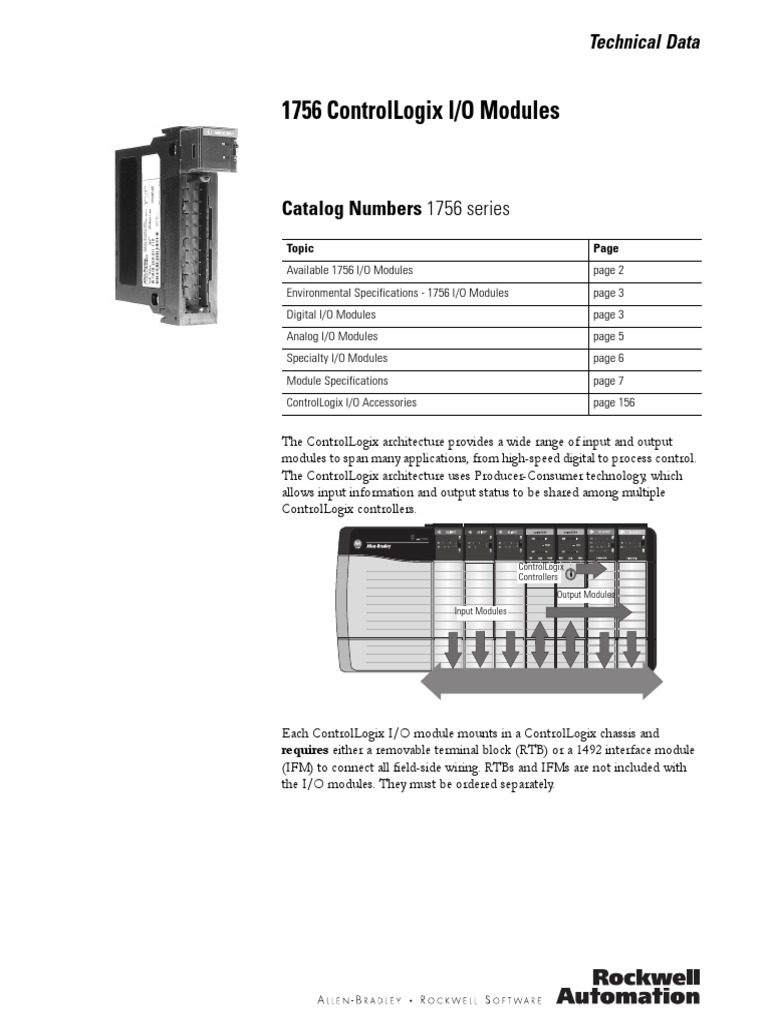 1756 Series Io Modules | Power Supply | Electrical Wiring on