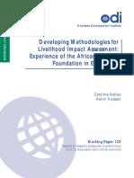 Developing Methodologies for Livelihood Impact Assessment