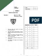 S1 06-07 Maths Paper 1