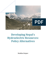 Developing Nepals Hydroelectric Resources - Policy Alternatives