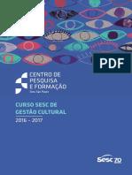 CURSO SESC DE GESTÃO CULTURAL 2016/2017