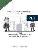 Confeccion de Prendas de Vestir Patronaje Industrial Uniformes Para Ninas GI