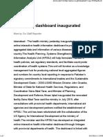 Health Info Dashboard Inaugurated