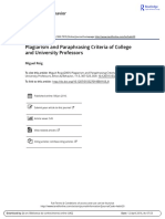 Roig Et Al 2001 Plagiarism and Paraphrasing Criteria of College and University Professors