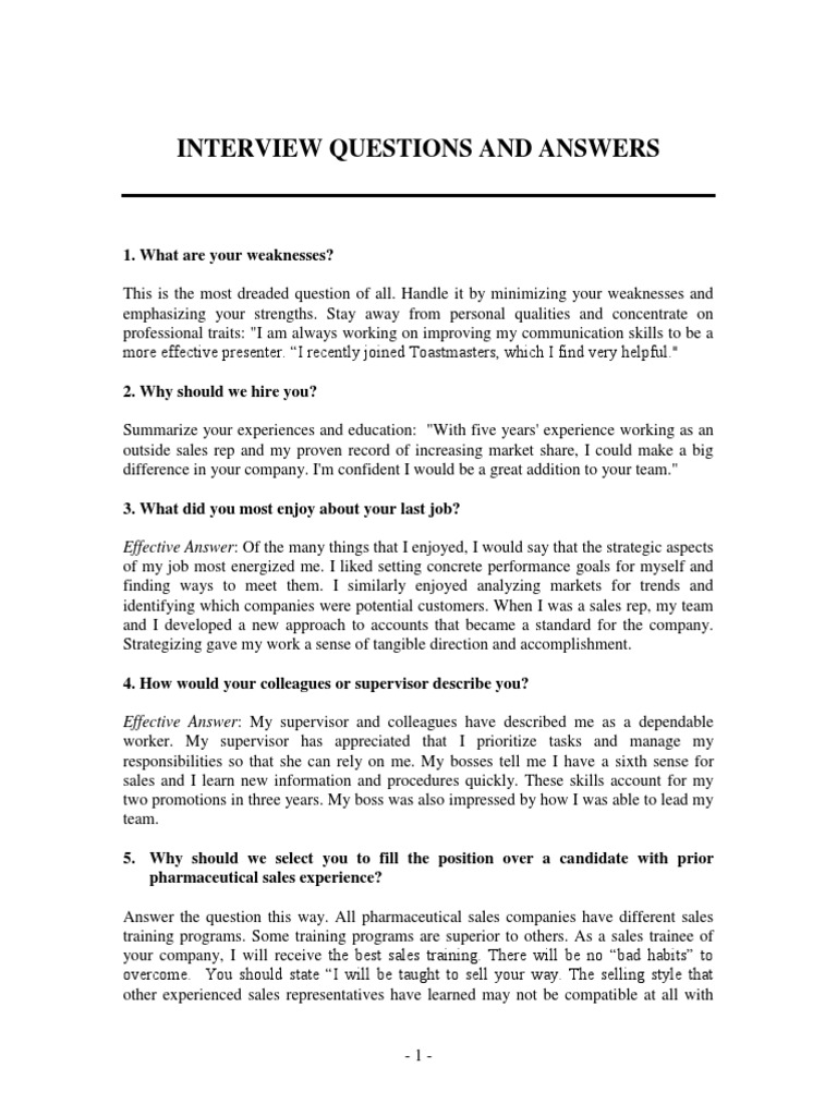 interview questions pharmaceutical industry