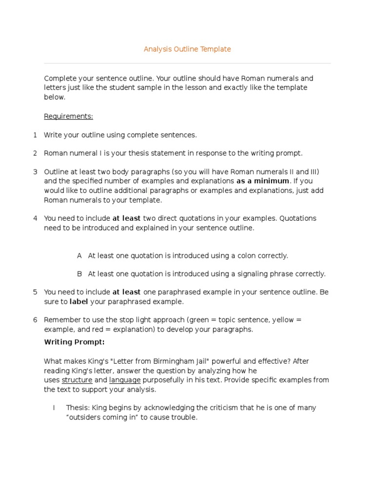 sentence outline for an analytical essay A sentence outline does all of this, plus it shows exactly what you will say about each mini-topic each sentence, instead of simply identifying a mini-topic, is like a mini-thesis statement about that mini-topic.