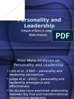 Personality and Leadership Meta Critique