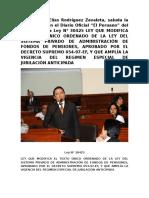 """Congresista Elías Rodríguez Zavaleta, saluda la publicación en el Diario Oficial """"El Peruano"""" del día de hoy, la Ley N° 30425"""