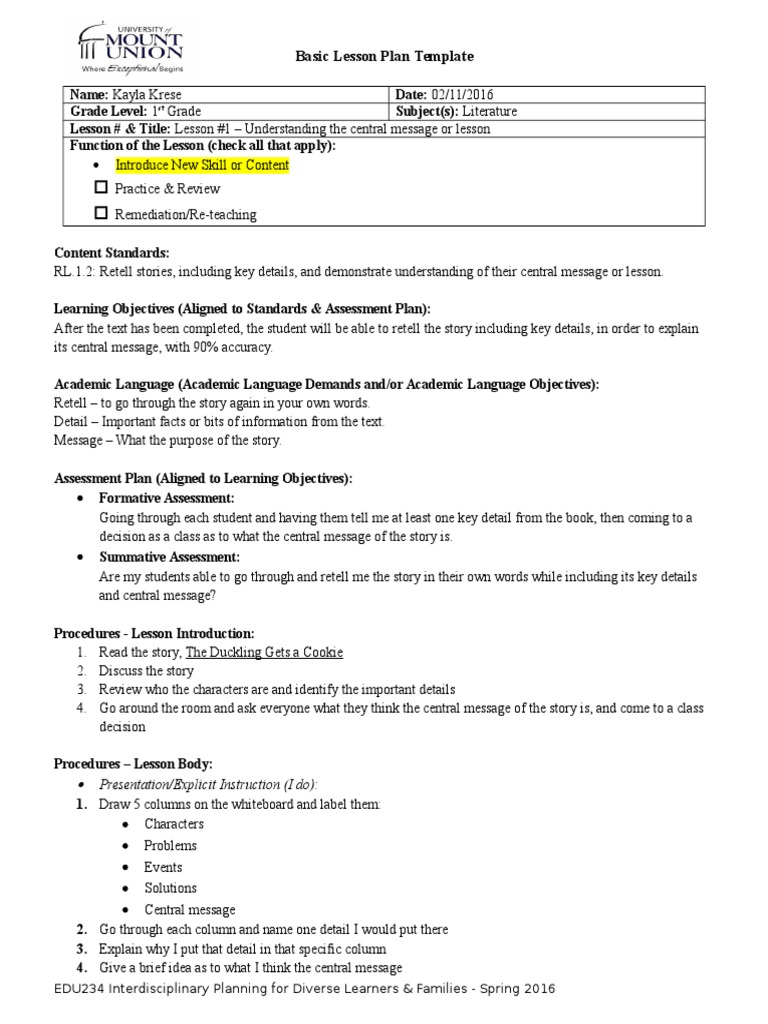 Basic Lesson Plan Template Literature Assignment Educational