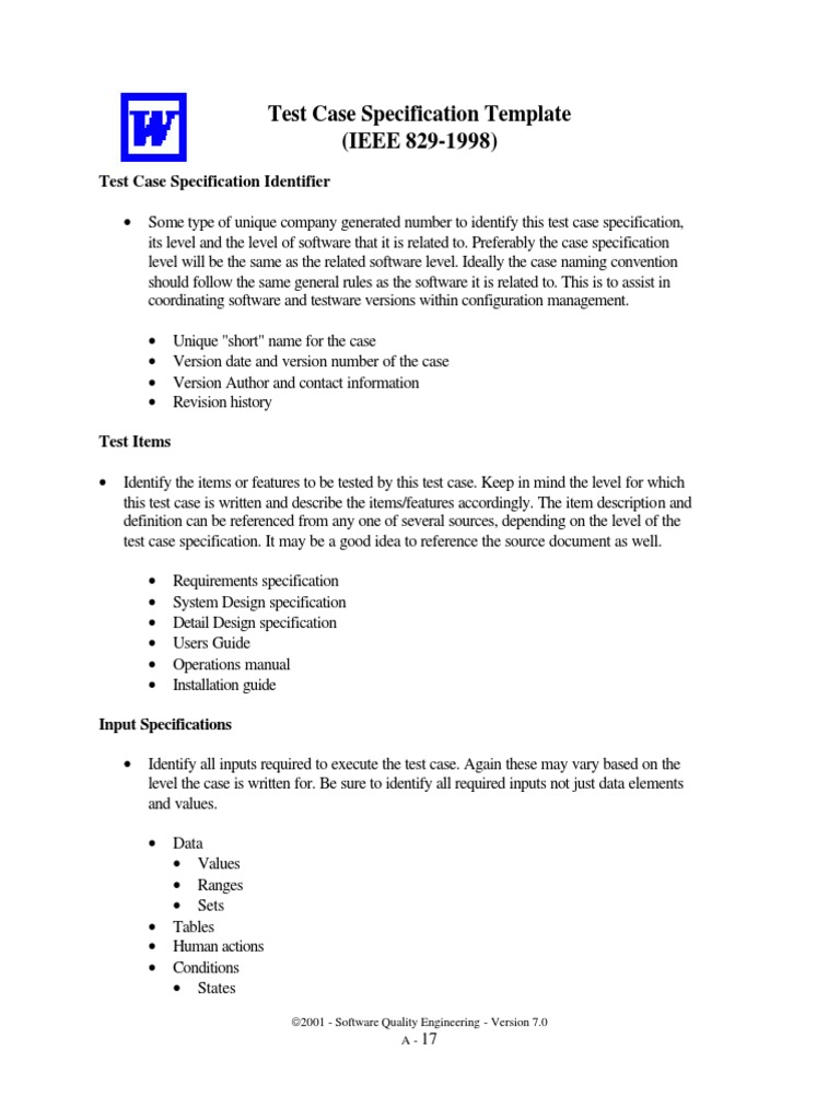 Qe Test Case Specification Template   Specification (Technical ...