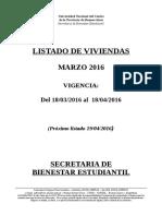Listado de Viviendas Marzo 2016