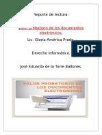 Reporte de Lectura Valor Probatorio de Los Documentos Electronicos