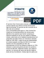 El Servicio Club Correo Para Compras Vía Courier o Correos Rápidos Que Ofrecía Correos Del Ecuador Dejó de Funcionar