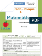 Plan 4to Grado - Bloque 4 Matemáticas (2015-2016)