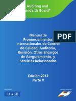 Manual de Pronunciamientos Internacionales de Control de Calidad, Auditoría, Revisión, Otros Encargos de Aseguramiento, y Servicios Relacionados Edición 2013 Parte II