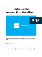 Instalar y Probar Windows 10 en VirtualBox