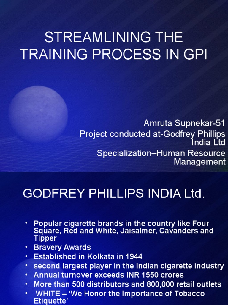 STREAMLINING THE TRAINING PROCESS IN GPI.ppt | Usability | Technology