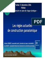 Les Règles Actuelles de Construction Parasismique