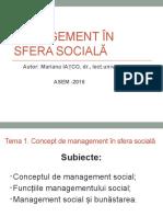 Concept de Managemnet in Sfera Sociala Nr1