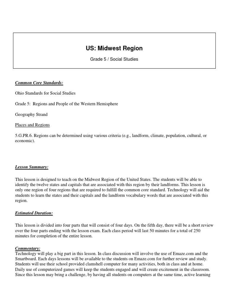 US: Midwest Region Lesson Plan | Quiz | Test (Assessment)