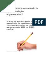 Como Produzir a Conclusão de Uma Dissertação Argumentativa