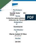 Criterios Criterios para elaborar un informe de TasaciónPara Elaborar Un Informe de Tasación