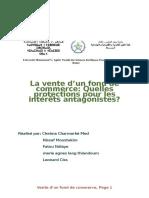 La Vente Du Fond de Commerce Protection Pour Interets Antagonistes