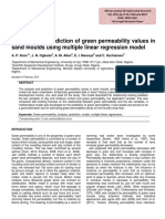 Analysis and Prediction of Green Permeability Values In