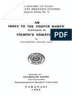 Index to the Proper Names Occuring in Valmikis Ramayana