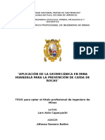 Aplicación de La Geomecánica en Mina Huanzalá Para La Prevención de Caída de Rocas - Word