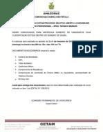Cetam201601 Comunicado Matricula Tec Manaus