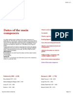 Dates of the Main Composers