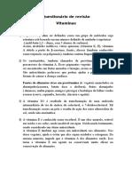 Questionário de Revisão Vitaminas