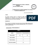 Acta Final de Elecciones Complementarias de Mesa Directiva Del Centro Federado de LL.ycc.HH. 2016