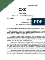 CXC English A May- June 2007