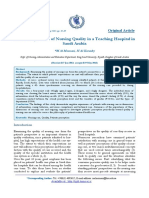 Patient Experience of Nursing Quality in a Teaching Hospital in Arabia Saudi