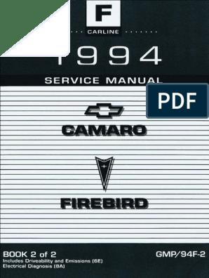 1994 Chevrolet Camaro & Pontiac Firebird Service Manual ... on