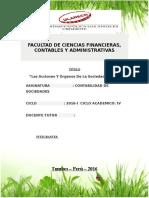 monografia de investigacion Las Acciones Y Órganos de La Sociedad Anónima peruana