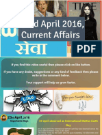 23 April 2016 Current Affair for Competition Exams