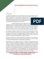 Carta de la Agrupacion de Familiares de Ejecutados Politicos a Piñera