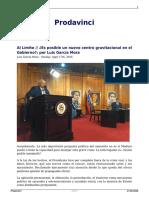 Luis García Mora - Es Posible Un Nuevo Centro Gravitacional Del Gobierno