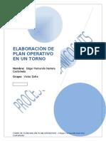Elaboración de Plan Operativo en Un Torno