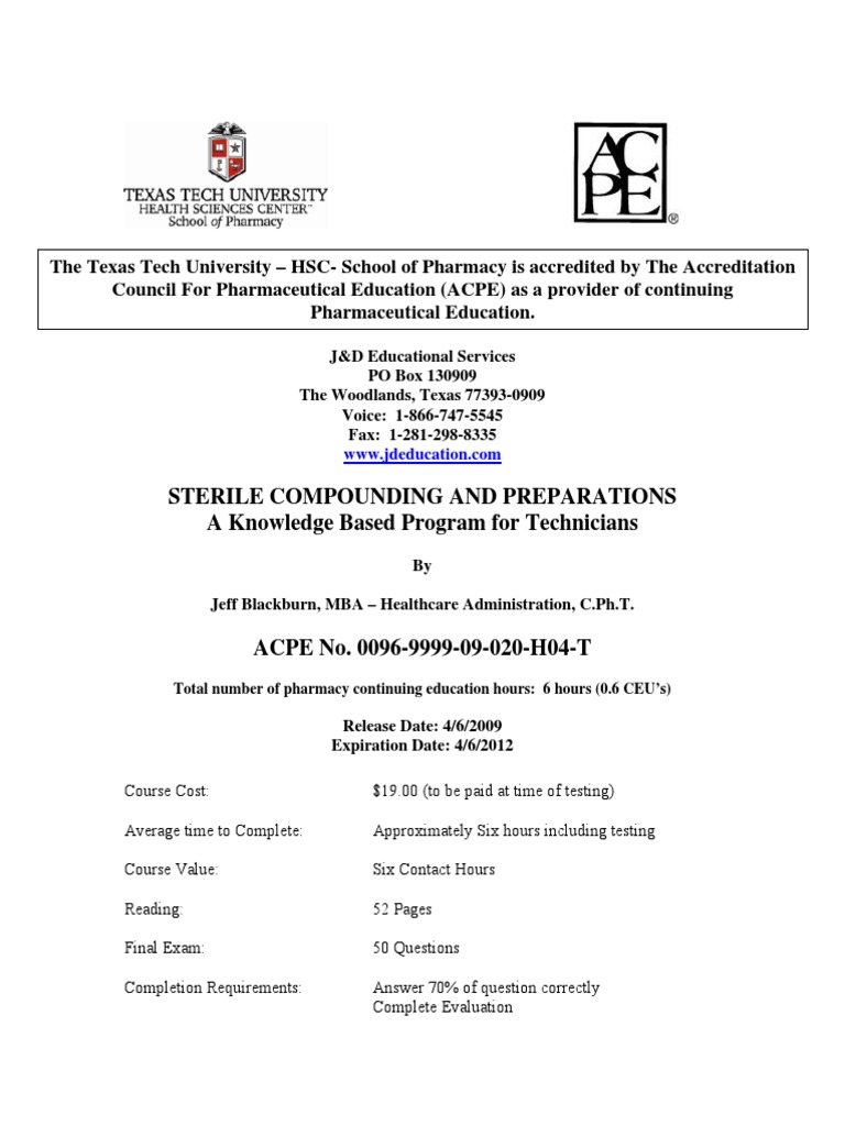 Sterile Compounding Intravenous Therapy Pharmacy