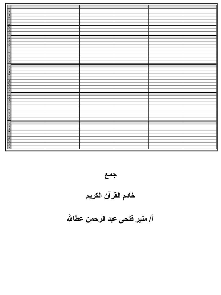 ترتيب أرباع القرآن الكريم لتثبت الحفظ Pdf للشيخ منير فتحى عطاالله