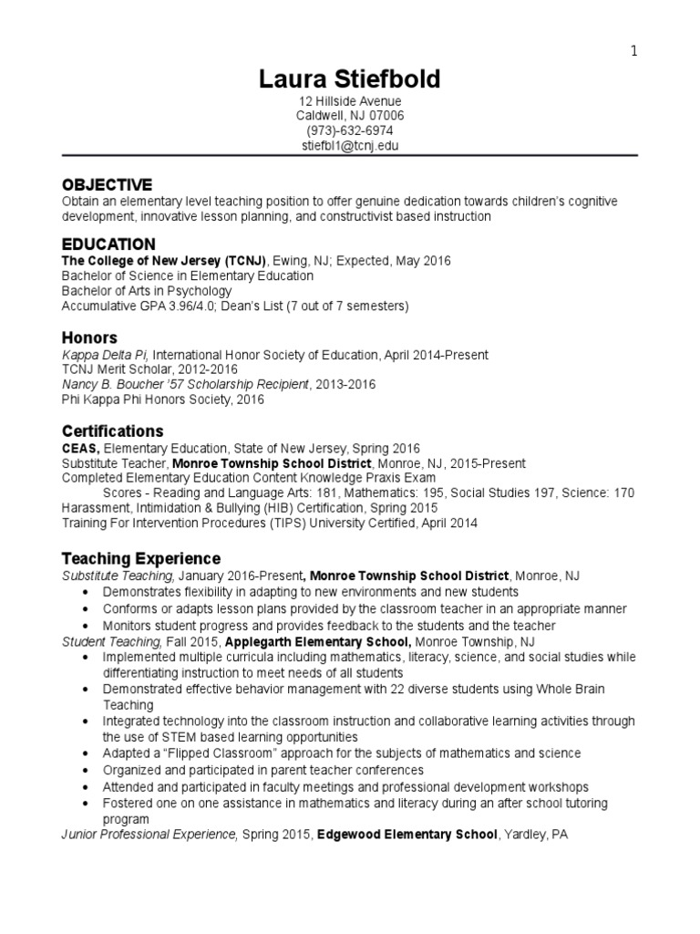 Stiefbold Resume Teachers Primary Education