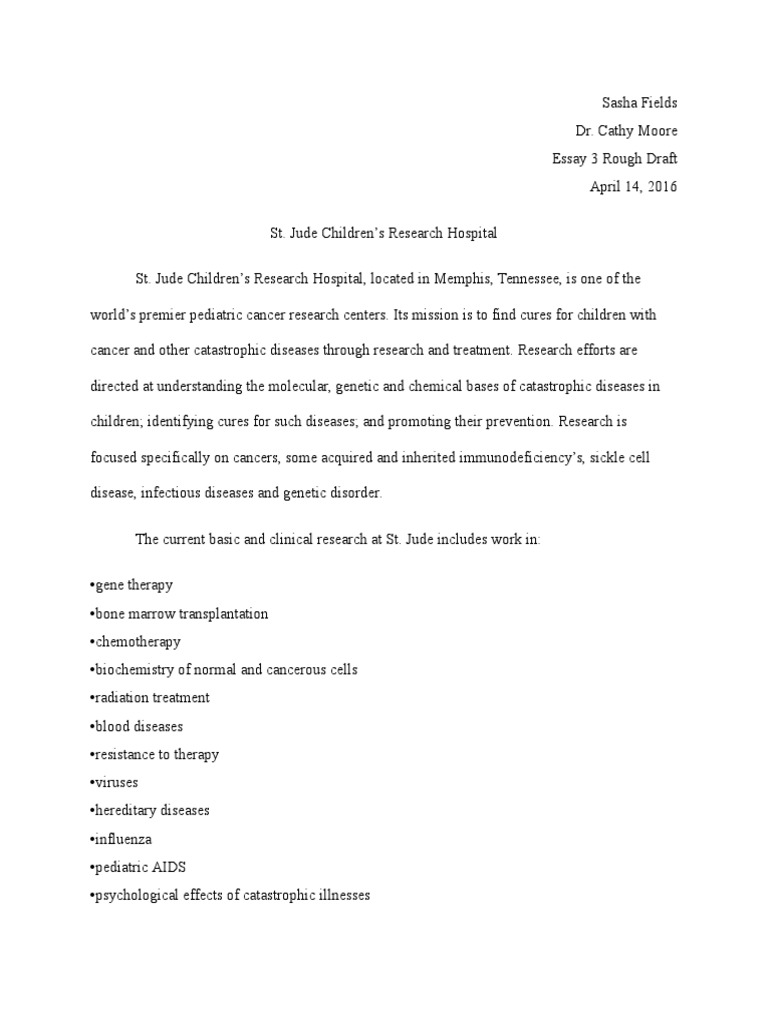 Essay 3 Charity St Jude Research Childrens Hospital