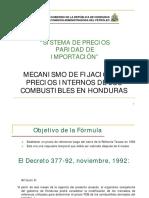 Formula de precios para combustibles 2012 Honduras