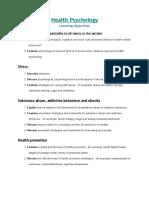 Health Psychology - LOs