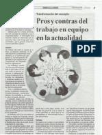 Pros y Contras Del Tabajo en Quipo en La Actualidad